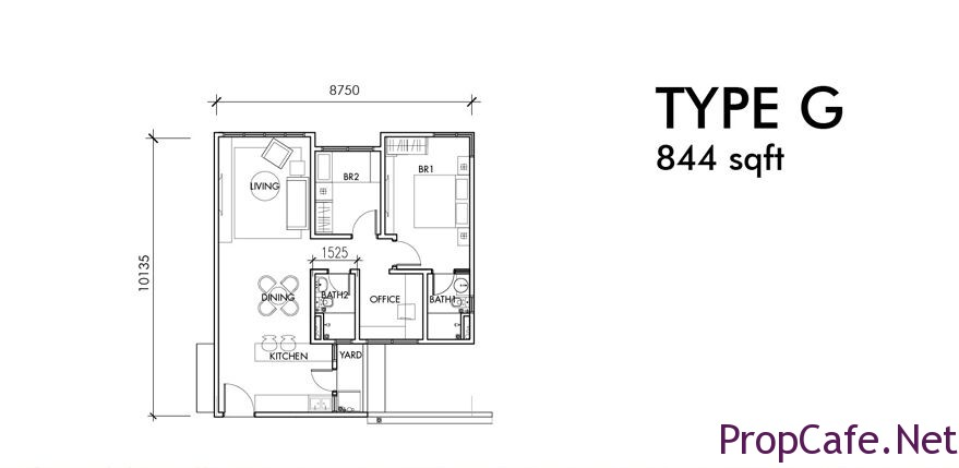 Type G: 844sf 2Bedroom + 1 Office + 2Bath